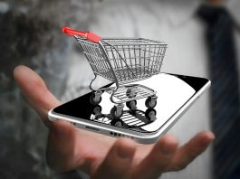 smartphone et chariot miniature