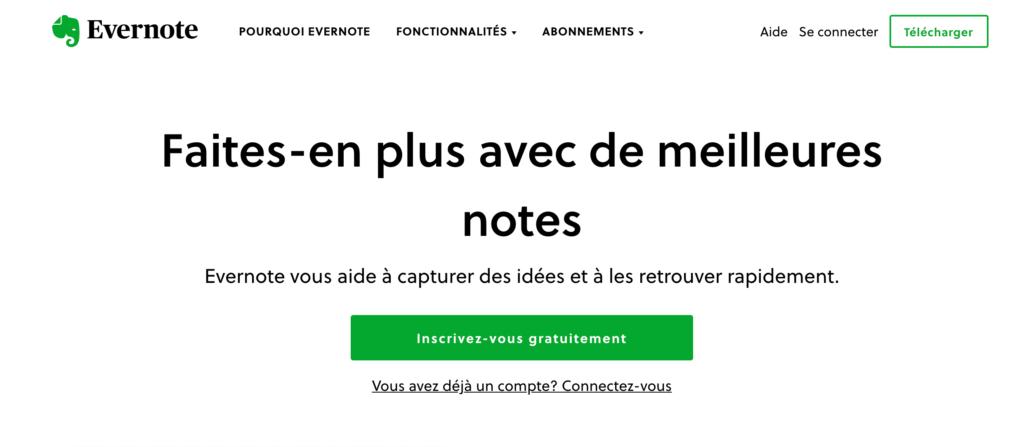 Landing Page Evernote